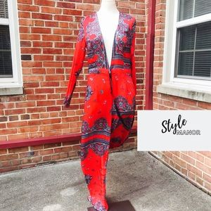 PLT Red Baroque Deep V Pant Suit